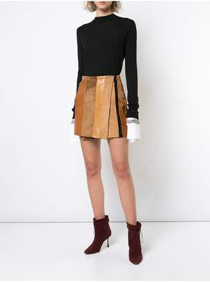 ADAM by Adam Lippes Leather Patchwork Wrap Mini Skirt