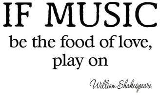 VWAQ If Music Be the Food of Love Play On Decal Wall Quotes Shakespeare Inspirational Sayings Vinyl Lettering Motivational Words Stickers