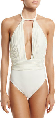 Gottex Pearl Goddess Halter One-Piece Swimsuit $198 thestylecure.com