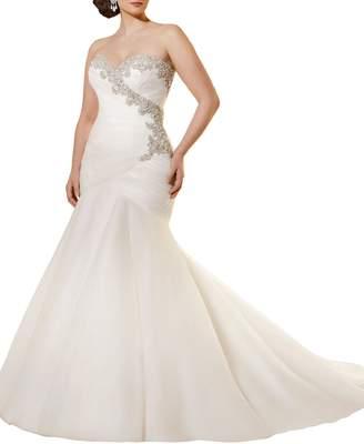 Half Flower Bridal Tulle Wedding Dress Mermaid Bride Dress Wedding 2017 Sequins Wedding Dress Long US18 Plus