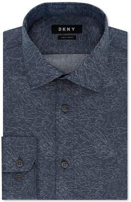 DKNY Men's Slim-Fit Stretch Blue Print Dress Shirt