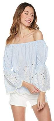 Plumberry Women's Off Shoulder Bell Sleeve Striped Summer Boho Casual Loose Blouse Shirts Tops Pink