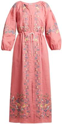 Maggie floral-embroidered linen dress