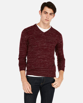Express Wool-Blend Space Dye V-Neck Sweater