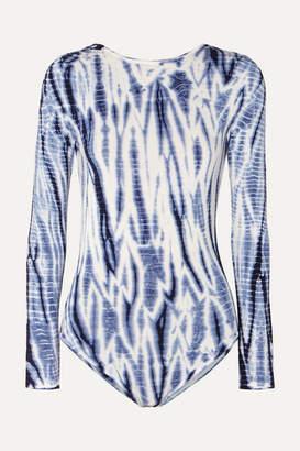 Ninety Percent Net Sustain Open-back Tie-dyed Stretch-tencel Bodysuit - Blue