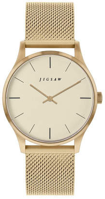 Jigsaw Ladies Watch, Round Gold Stainless Steel Case, Champaign Dial, Stainless Steel Mesh Bracelet