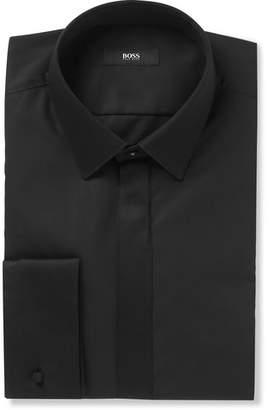 HUGO BOSS Black Slim-Fit Cotton-Poplin Tuxedo Shirt