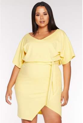 Quiz Curve Yellow V Neck Batwing Wrap Midi Dress