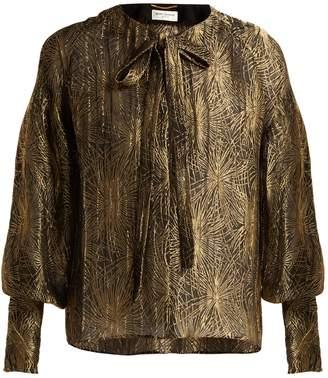 Saint Laurent Firework-jacquard lamé blouse