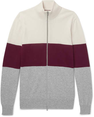 Brunello Cucinelli Colour-Block Cashmere Zip-Up Cardigan