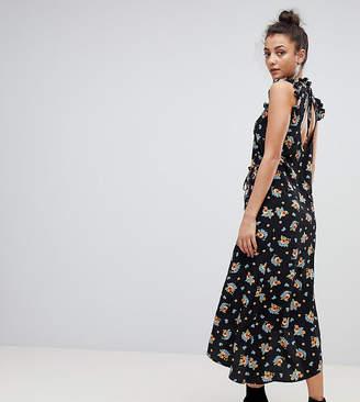 Asos Tall TALL Midi Tea Dress in Dark Floral