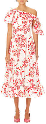 Carolina Herrera Asymmetric Floral-Print Cotton Dress w/ Knot Detail