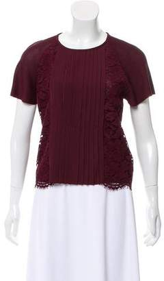 Valentino Lace-Trimmed Pleated Top w/ Tags