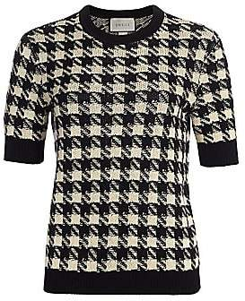 Gucci Women's Houndstooth Cashmere & Silk Short-Sleeve Sweater
