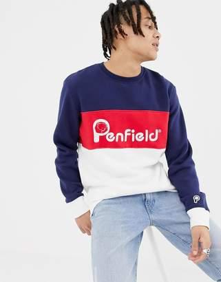 Penfield Hudson color block logo sweatshirt in navy multi