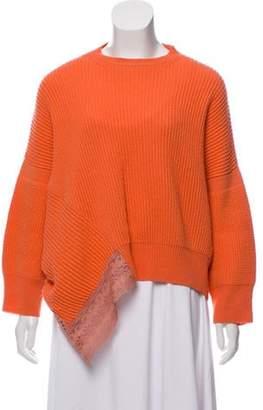 Stella McCartney Wool and Silk-Blend Crew Neck Sweater Orange Wool and Silk-Blend Crew Neck Sweater