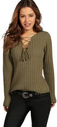 boohoo Petite Lace Up Rib Knit Jumper
