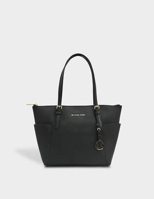 MICHAEL Michael Kors Jet Set Item EW Top Zipped Tote Bag in Black Saffia Leather