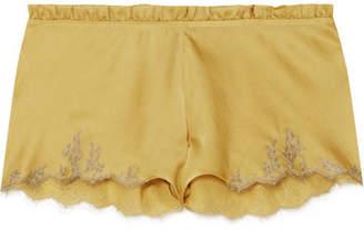 Carine Gilson Flottant Chantilly Lace-trimmed Silk-satin Shorts - Mustard