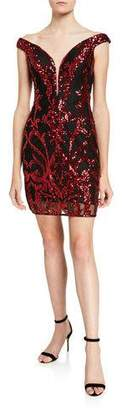 Jovani Sequin Embellished Off-the-Shoulder Short Dress