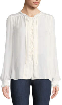 Paige Honor Button-Front Silk Blouse