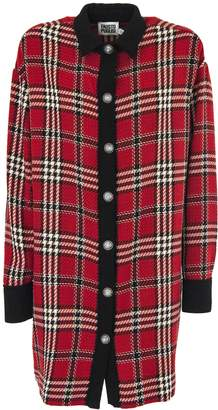 Fausto Puglisi Tartan Cotton And Wool Long Coat.