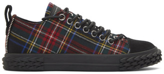 Giuseppe Zanotti Red Plaid Blabber Low-Top Sneakers