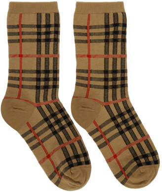 Burberry Beige Vintage Check Socks