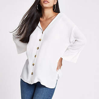 River Island White button front bar back blouse