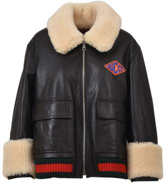 Gucci Black Leather Aviator Jacket