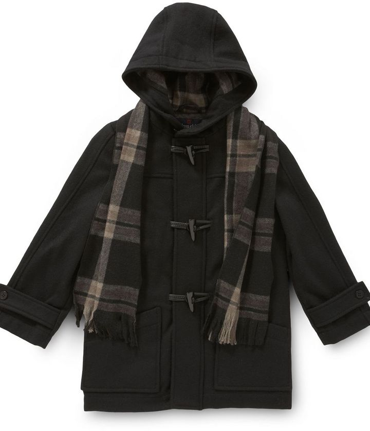 Class club toddler wool-blend duffle coat with scarf