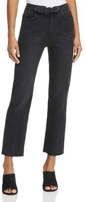 Paige Margot Tie-Front Straight Jeans in Film Noir