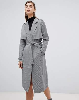 Unique21 Unique 21 dogstooth long line trench coat with belth