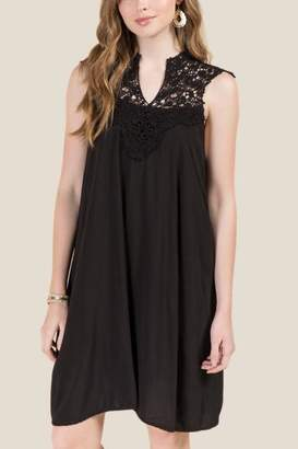 francesca's Camille Crochet Mineral Wash Shift Dress - Black