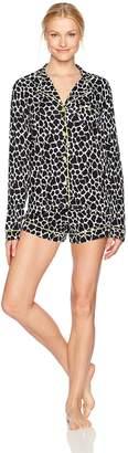 Mae Women's Long Sleeve Jersey Notch Collar with Boxer Short Pajama Set
