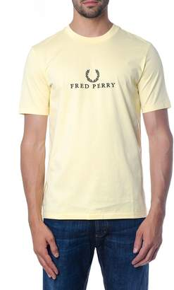 Fred Perry Yellow Cotton T-shirt With Logo Print