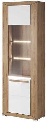 Lumi Helvetia 1 Door Glass Cabinet with Shelves