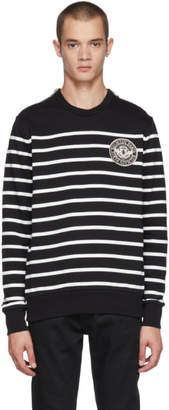 Balmain Black and White Striped Zip Sweatshirt
