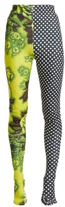 Richard Quinn - Contrast Panel High Rise Leggings - Womens - Green Multi