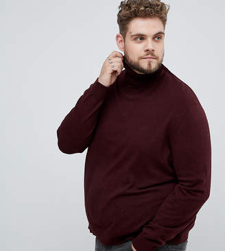 Burton Menswear Big & Tall roll neck jumper in burgundy