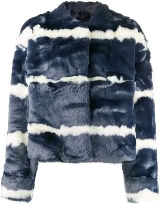 CHARLOTTE SIMONE cropped faux fur jacket