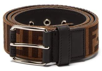 Fendi Ff Jacquard Logo Belt - Mens - Brown Silver