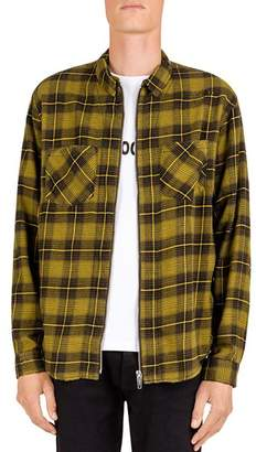 The Kooples Checked Distressed Regular Fit Zip-Front Shirt