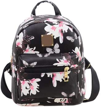 Gowind7 Backpack for Women PU Leather Backpack Floral Printing