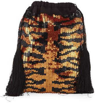 ATTICO The Full Sequin Tiger Pouch Bag