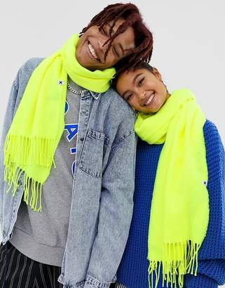 Collusion COLLUSION Unisex blanket scarf in neon green