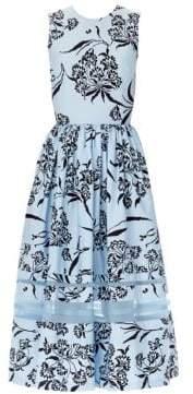 Carolina Herrera Stretch Cotton Floral Sleeveless Dress