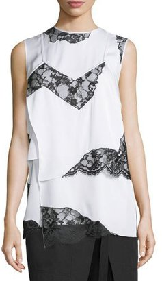 DKNY Sleeveless Layered Chiffon & Lace Top, Chalk $448 thestylecure.com