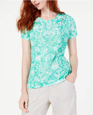 INC International Concepts I.N.C. Petite Printed Grommet Lace-Up Top, Created for Macy's