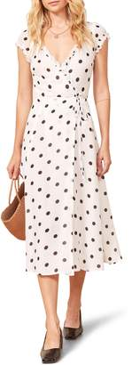 Reformation Gwenyth Polka Dot Wrap Dress